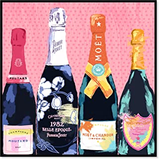The Oliver Gal Artist Co. Pass the Bottle' Framed Fashion Wall Decor, 16 x 16, Pink