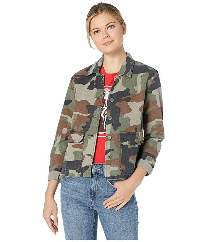 Lucky Brand Utility Shirt Jacket (Green Multi) Women