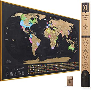 XL Scratch Off Map of The World with Flags - 36x24 inches Easy to Frame Scratch Off World Map Wall Poster with US States & Flags - Deluxe Travel World Scratch Map, Travel Decor, Designed for Travelers
