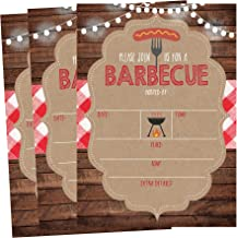 50 Wood Summer BBQ Party Invitations for Children, Kids, Teens & Adults, I Do Barbecue Beach Housewarming Cards, Red and White Summertime Birthday, Pool Family Reunion, Picnic Cookout Invites