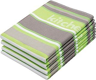 ZOLLNER 4er-Set Geschirrtücher Baumwolle, apfelgrün-gestreift, 50x70 cm