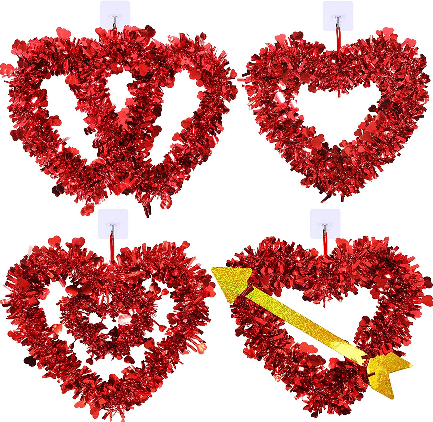 Winlyn 4 Pcs Valentines Heart Wreaths Assortment Red Tinsel Foil Heart Shaped Wedding Wreaths Valentines Front Door Wreaths for Door Wall Window Valentine's Day Mother's Day Wedding Party Decoration