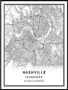 Squareious Nashville map Poster Print | Modern Black and White Wall Art | Scandinavian Home Decor | Tennessee City Prints Artwork | Fine Art Posters 18x24