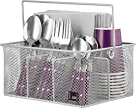 Utensil Holder By Mindspace, Kitchen Condiment Organizer and Flatware Utensil Caddy   The Mesh Collection, Silver
