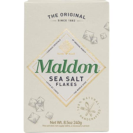 Maldon Salt, Sea Salt Flakes, 8.5 oz (240 g), Kosher, Natural, Handcrafted, Gourmet, Pyramid Crystals