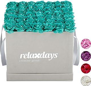 Relaxdays Boîte, 49, Bac à Roses Gris, Forme en cœur, conservable 10 Ans, Turquoise, Carton, Tissu, PP, Türkis, 28,5 x 30,...