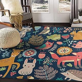 ALAZA Forest Owl Deer Hedgehog Fox Area Rug Rugs for Living Room Bedroom 7' x 5'