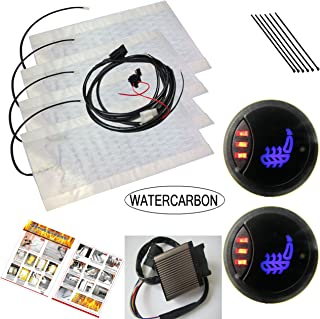WATERCARBON 1 Side 3 red dot Circle Switch Built-in Car Heated Seat Heater Pad Car Seat Heating Kit Uses Carbon Fiber Premium Heating pad (Ge 1 Side 3 red dot Circle Switch)