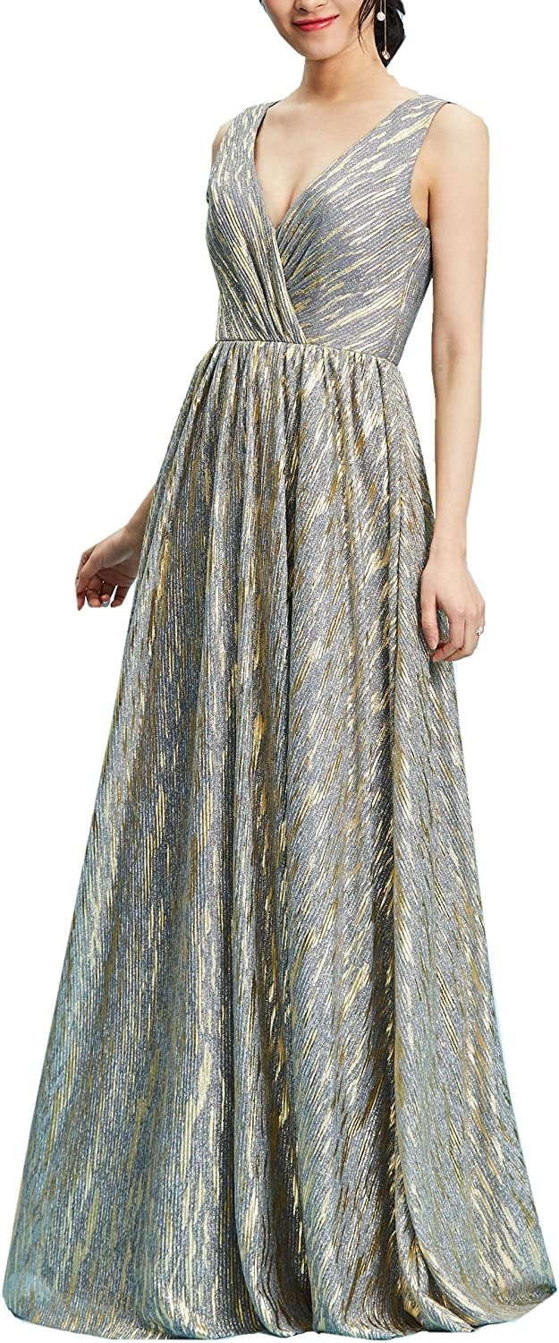 Heartgown 2018 Women's Sexy V Neck Sparkly Long Prom Dress gold Bright Silk Evening Dress A Line