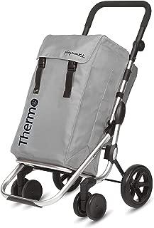 Playmarket GO Plus Large Capacity Folding Shopping Cart with Swivel Wheels, Silver