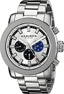 Akribos XXIV Men's Swiss Quartz Date Watch - Sunburst Dial Date and Day Subdial - Luminous Hands and Markers - Stainless Steel Bracelet - AK684