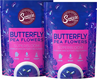 Suncore Foods - Premium Dried Butterfly Pea Flowers Superbloom, No Caffeine, No Preservatives, 1oz each, 2oz total (2 Pack)