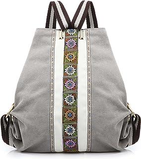 Damen Canvas Rucksack Tagesrucksack Casual Schultertasche Vintage Heavy Duty Anti-Diebstahl Reiserucksack