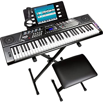 RockJam Keyboard Stand, Bench, Headphones, Keynote Stickers & Simply Piano app, 61 Key (RJ5061)