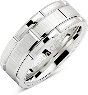 100S JEWELRY Tungsten Rings For Men Wedding Band White Gold Brick Pattern Rhodium Plated Size 6-16