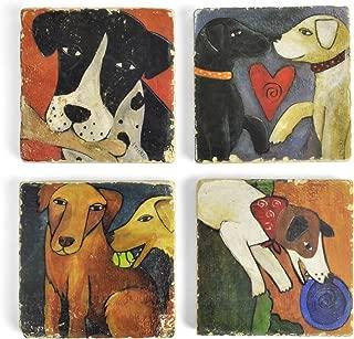 Studio Vertu Sticks Dogs Tumbled Marble Coasters, Set of 4