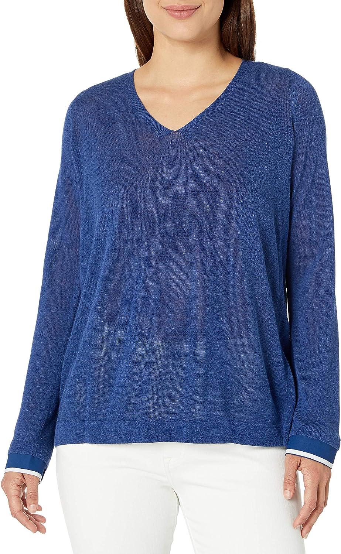 Houston Mall NYDJ Women's Petite unisex Size Mixed with Sweater Media Overlap V-Neck