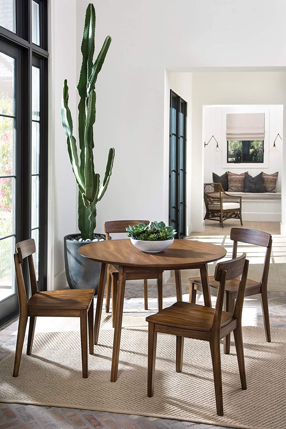 OSP Home Furnishings Chesterfield Super Special Max 46% OFF SALE held Dining 5-Piece Set Walnut