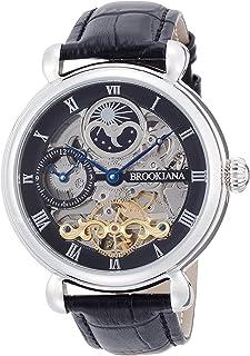 [ブルッキアーナ]BROOKIANA オリジン サン&ムーン 自動巻き シルバー×ブラックレザー BA2601-SVBK メンズ 腕時計