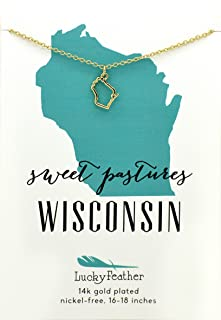 """State Necklace 14K Gold-Dipped Pendant on Adjustable 16""""-18"""" Chain"""