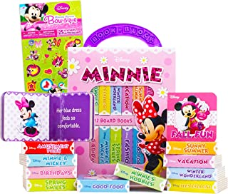 Disney Minnie Mouse Board Books Set Toddlers Babies Bundle ~ Pack of 12 Chunky My First Library Board Book Block with Stic...