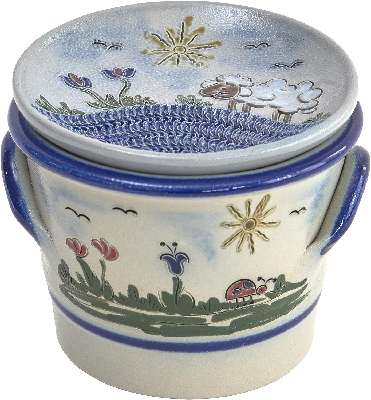 Original westerwlder Kannenbckerland salzglasierte Steinzeug Keramik Knoblauchtopf mit Knoblauchreibe als Deckel (oneGröße, Heile Welt)