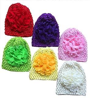 Baby Crochet Hats Chiffon Flower Infant Knitted Cap Newborn Hospital Hat Soft Nursery Hat Picture Accessories 0-12M