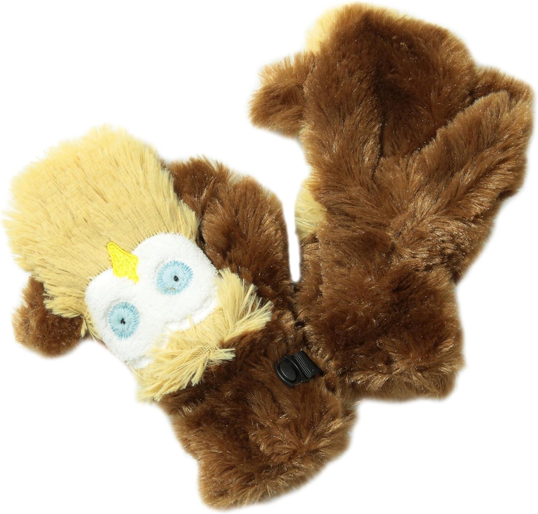Hatley Little Girls' Fuzzy Fleece Mittens-Owls