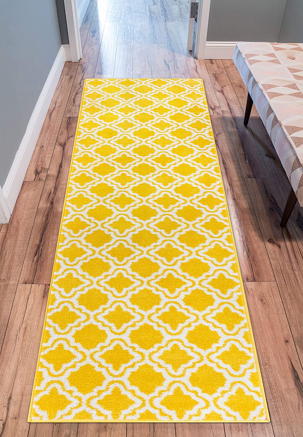 Modern Rug Calipso Yellow 2'X7'3'' Runner Lattice Trellis Accent Area Rug Entry Way Bright Kids Room Kitchn Bedroom Carpet Bathroom Soft Durable Area Rug