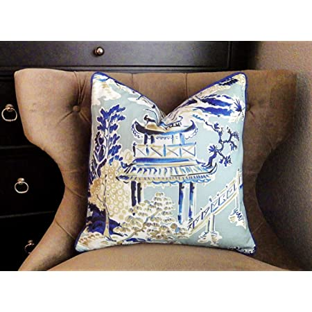 Designer off white Linen Pillow Cover navy cream Greek key ribbon trim All Size Available chinoiserie 16 20 18 24 inch 22