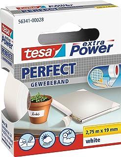 TESA 56341-00028-03 Cinta adhesiva de tela, Color blanco, 19mm