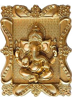 Naman Golden Ganesha Wall Hanging Sculpture Lord Ganesh Idol Ganpati Lucky Feng Shui Wall Decor Arts(Size 7 x 9 Inches)