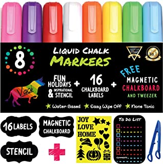 Chalk Markers by Vaci, Pack of 8 + Christmas Drawing Stencils + 16 Labels, Premium Liquid Chalkboard Neon Pens, Including Stencil,Tweezers and Magnetic Chalkboard, Bullet or Chisel Reversible Tips