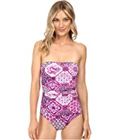 Tommy Bahama - Tiles of Tropics Shirred Bandeau One-Piece