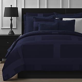 Comfy Bedding Frame Jacquard Microfiber King 5-piece Comforter Set, Navy Blue
