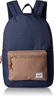 Herschel Settlement Backpack with 15'' Laptop Sleeve and Front Storage Pocket, Navy/Pine Bark, Classic 23L