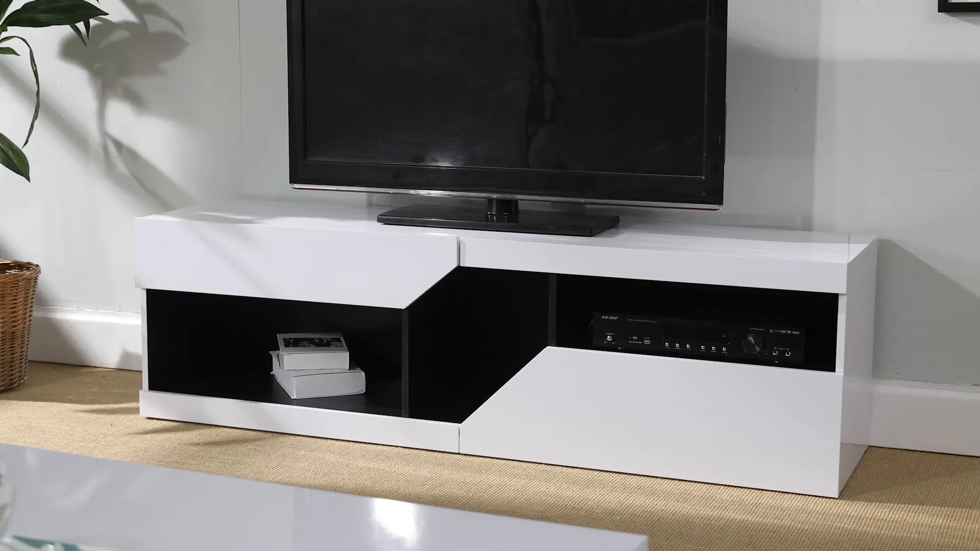 Zoom Meuble TV Design Graphique Contemporain Blanc et Noir 12,12 x ...