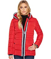 Tommy Hilfiger - Zip Front Horizontal Puffer with Hood