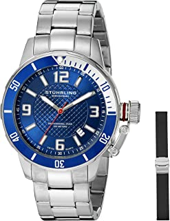 Stuhrling Original Men's 676.02.SET Aquadiver Quartz Date Bracelet and Rubber Strap Set Blue Dial Watch