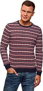 oodji Ultra Men's Jacquard Pullover with Contrast Details
