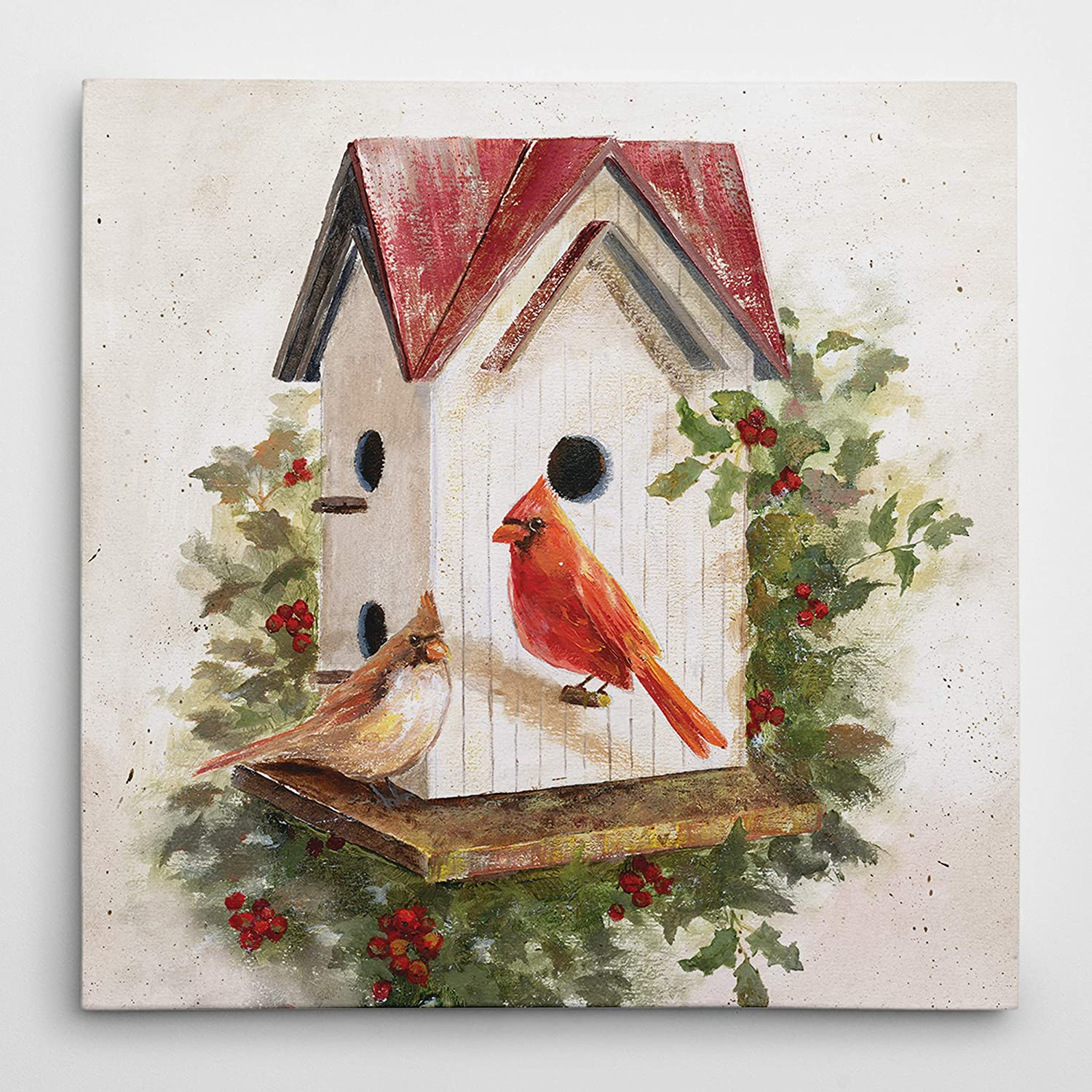 WEXFORD HOME Holly Berry El Paso Mall Birdhouse Canvas Wall depot A Wrapped Gallery
