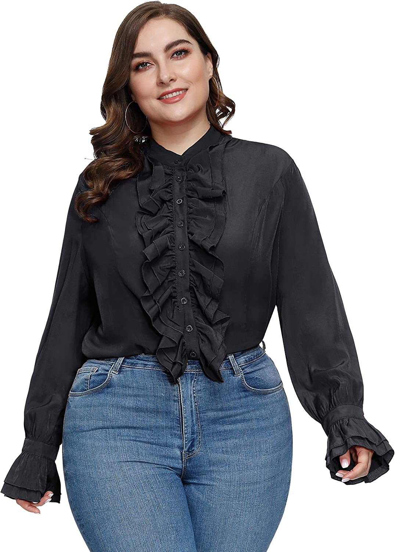Steampunk Plus Size Clothing & Costumes Hanna Nikole Women Plus Size Victorian Gothic Ruffled Lotus Shirt Blouse Tops  AT vintagedancer.com