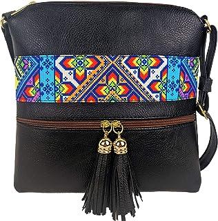 Bolsa crossbody mujer excelente como regalos para mujer con estampado de yute estilo chiapaneco práctica y ligera - crossb...