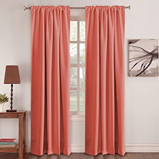 Thermal Insulated Room Darkening Curtains - Coral Curtain for Girls Room Drapes 52W x 95L, 2 Panels, Noise Reducing Back Tab Blackout Draperies - Coral - 52