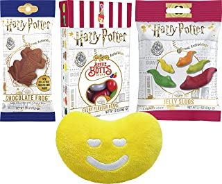 Harry Potter Candy Variety 1 of Each Chocolate Frog, Bertie Botts, Jelly Slugs By The Cup Gift Pack with Jellly Belly Mini Emoji Plush