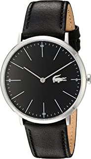 Lacoste Men's Stainless Steel Quartz Watch with Leather Calfskin Strap, Black, 20 (Model: 2010873)
