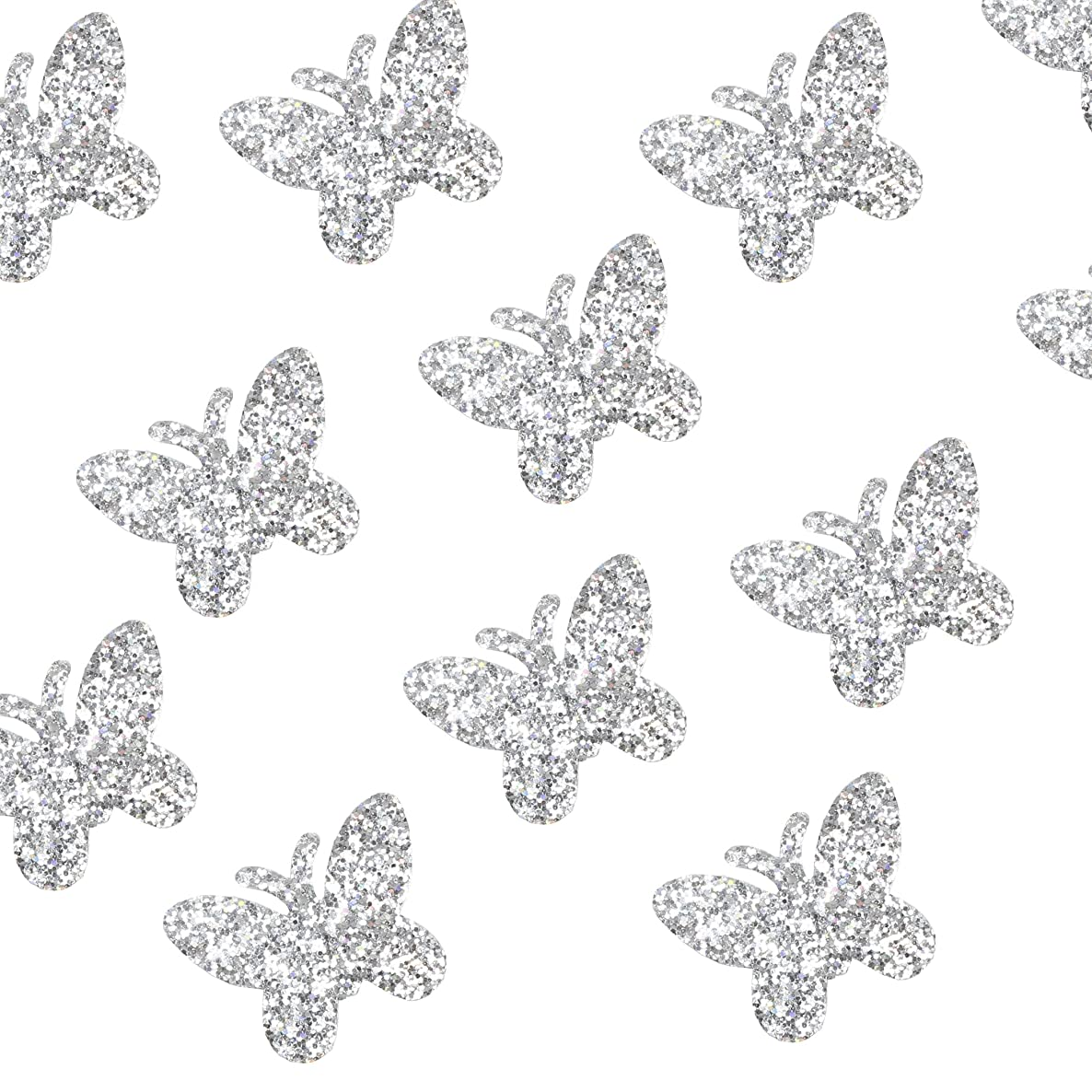 Felt Shapes - 100-Pack Butterfly Shaped Craft Felt Cutout Embellishment Decoration, Silver Glitter Sequins, 0.8 x 0.8 inches