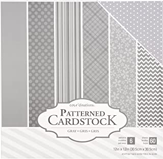 American Crafts Core'dinations Cardstock 60 Sheet 12 x 12 Inch Paper Pack Grey