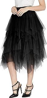 Women's Sheer Tutu Skirt Tulle Mesh Layered Midi Skirt