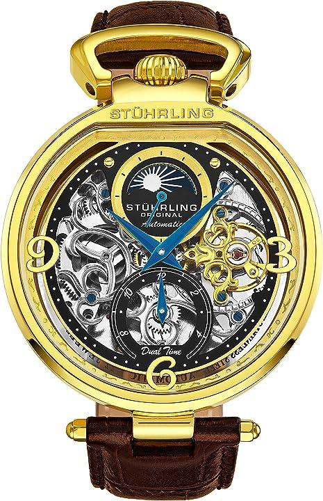 Orologio stuhrling da uomo con quadrante automatico e cinturino in pelle di vitello e doppio tempo, am/pm sun 889.02